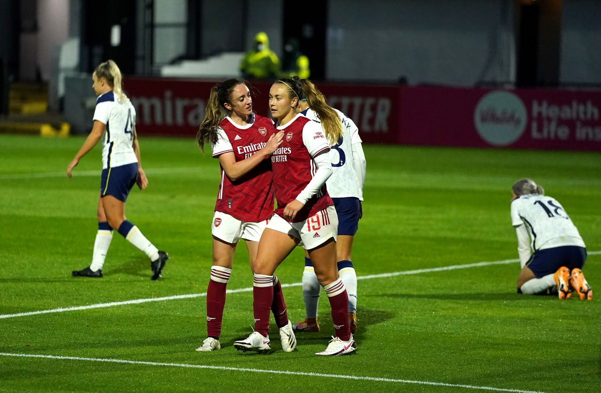 Arsenal's Lisa Evans hit a hat-trick in the last meeting with Spurs