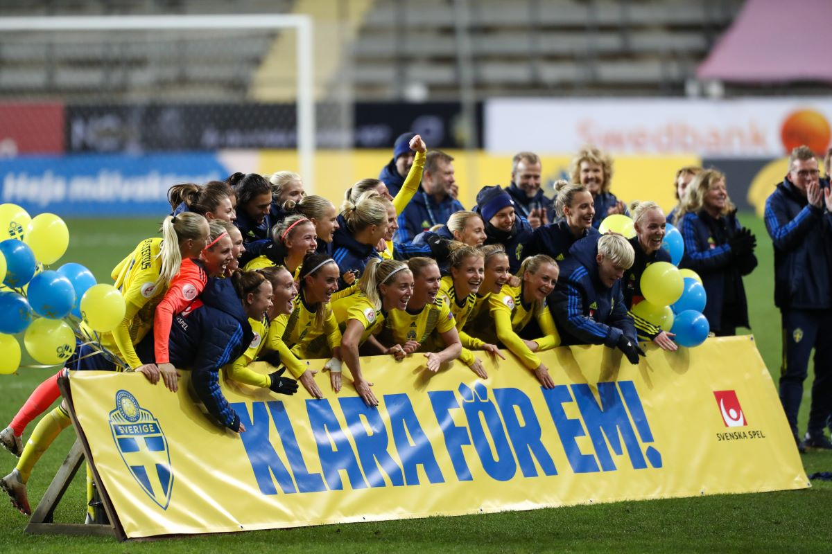 Sweden celebrate quallifyng for 2022 Euros