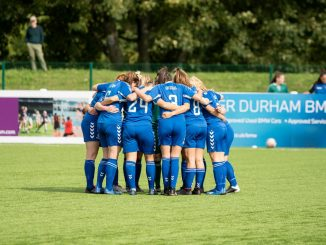Durham Women's FC huddle
