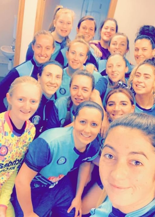 Wycombe Wanderers selfie after going top