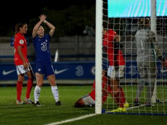 Chelsea's Bethany England celebrates her second goal v Benfica