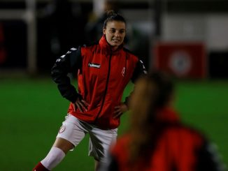 Bristol City's Chloe Logarzo warms-up for a midweek match