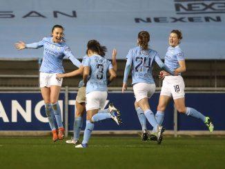 Man City celebrate their winner