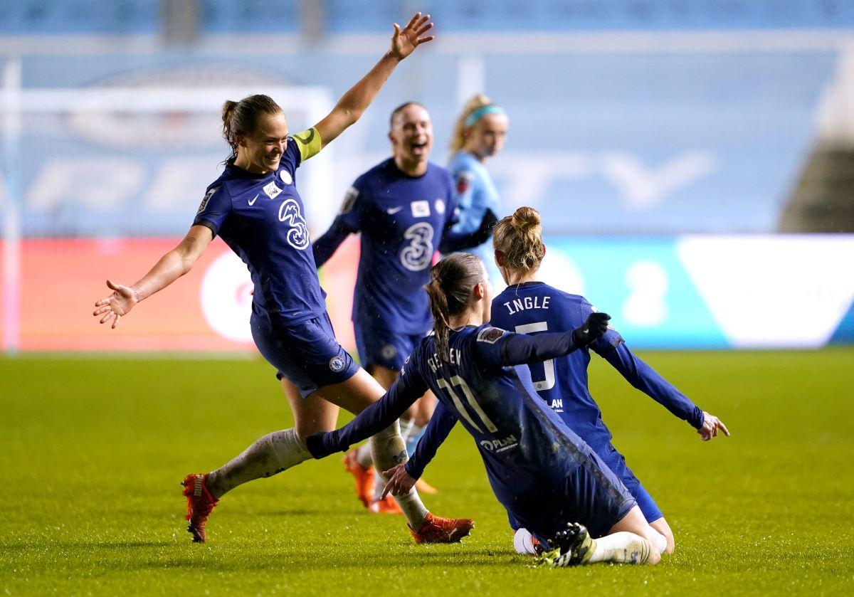 Chelsea celebrate their fourth goal