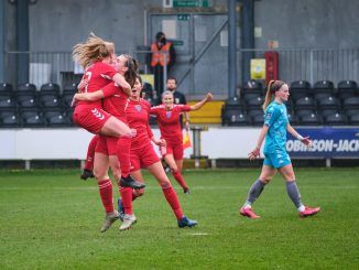 Durham celebrate a gol at London City Lionesses