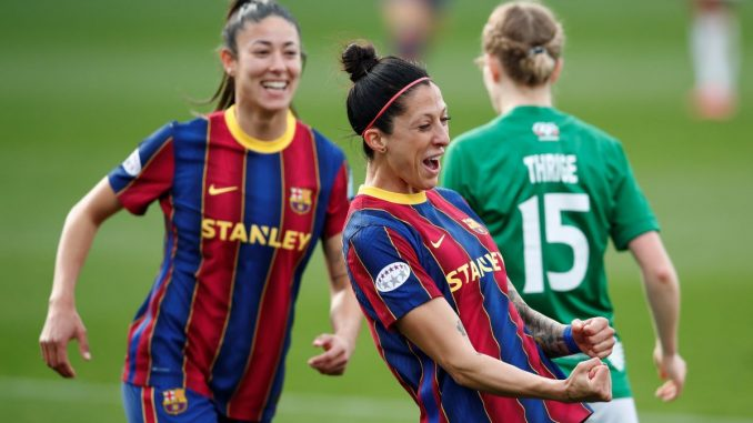 Barcelona's three-goal Jennifer Hermoso