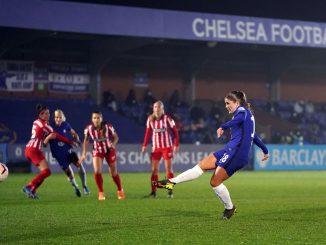 Chelsea's Maren Mjelde converts a penalty
