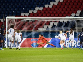 Lyon's Wendie renard scores from the spot
