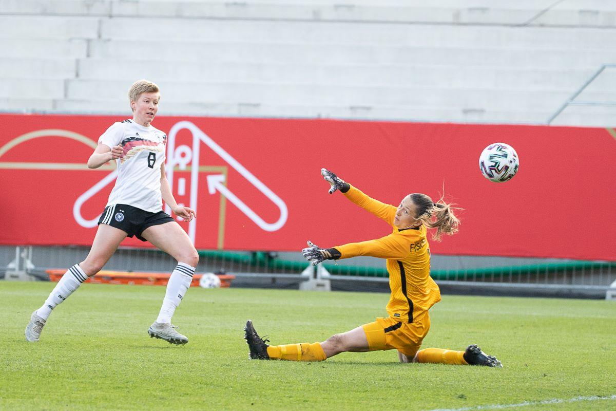 Germany's Paulina Krumbiegel scores