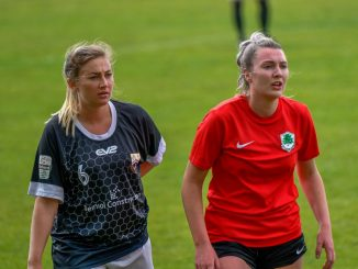 Port Talbot Town's three-goal Jesci Hare and Cyncoed's two-goal Alison Witts.