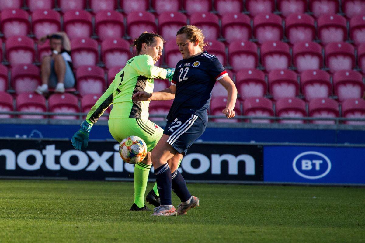 Scotland's goalscorer, Erin Cuthbert