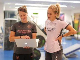 Man City's Steph Hougton helps with research