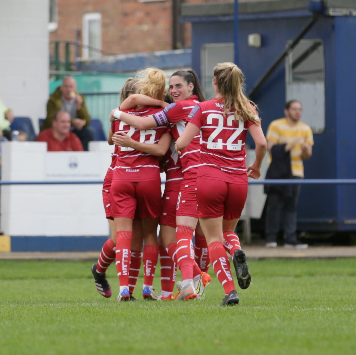 Doncaster Rovers Belles celebrate their winner.