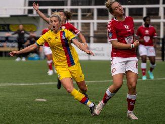 Kirsty Barton celebrates putting Crystal Palace 3-1 up.