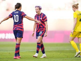USA's two-goal Carly Lloyd and Megan Rapinoe