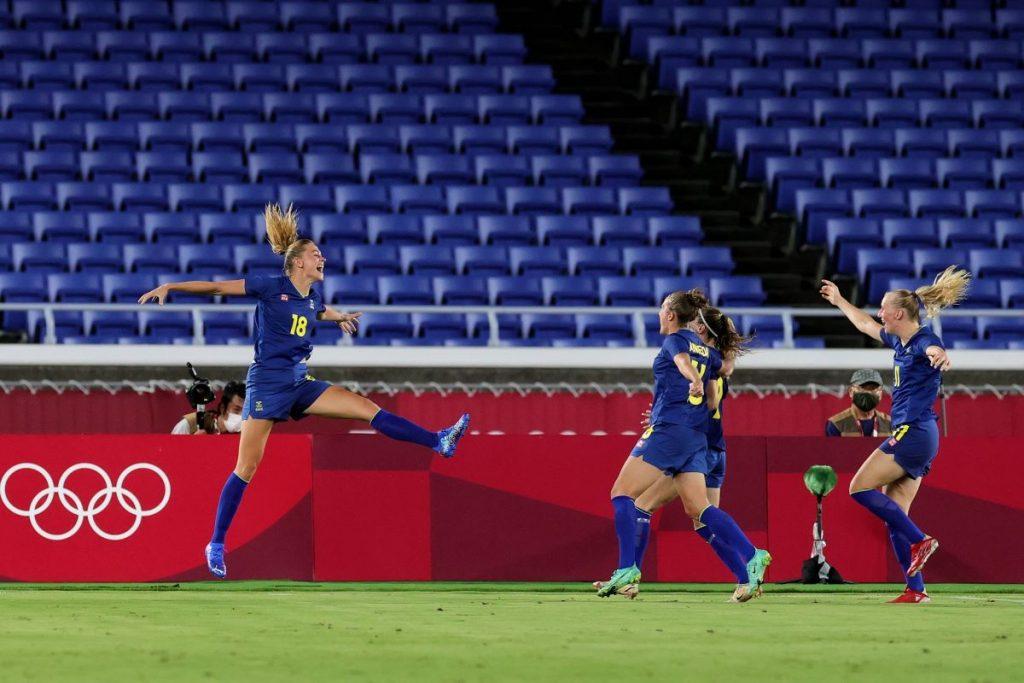 Sweden's Fridolina Rolfo celebrates