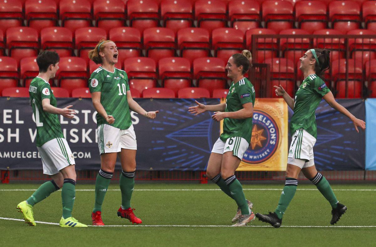 Northern ireland's Rachel Furness celebrates her goal