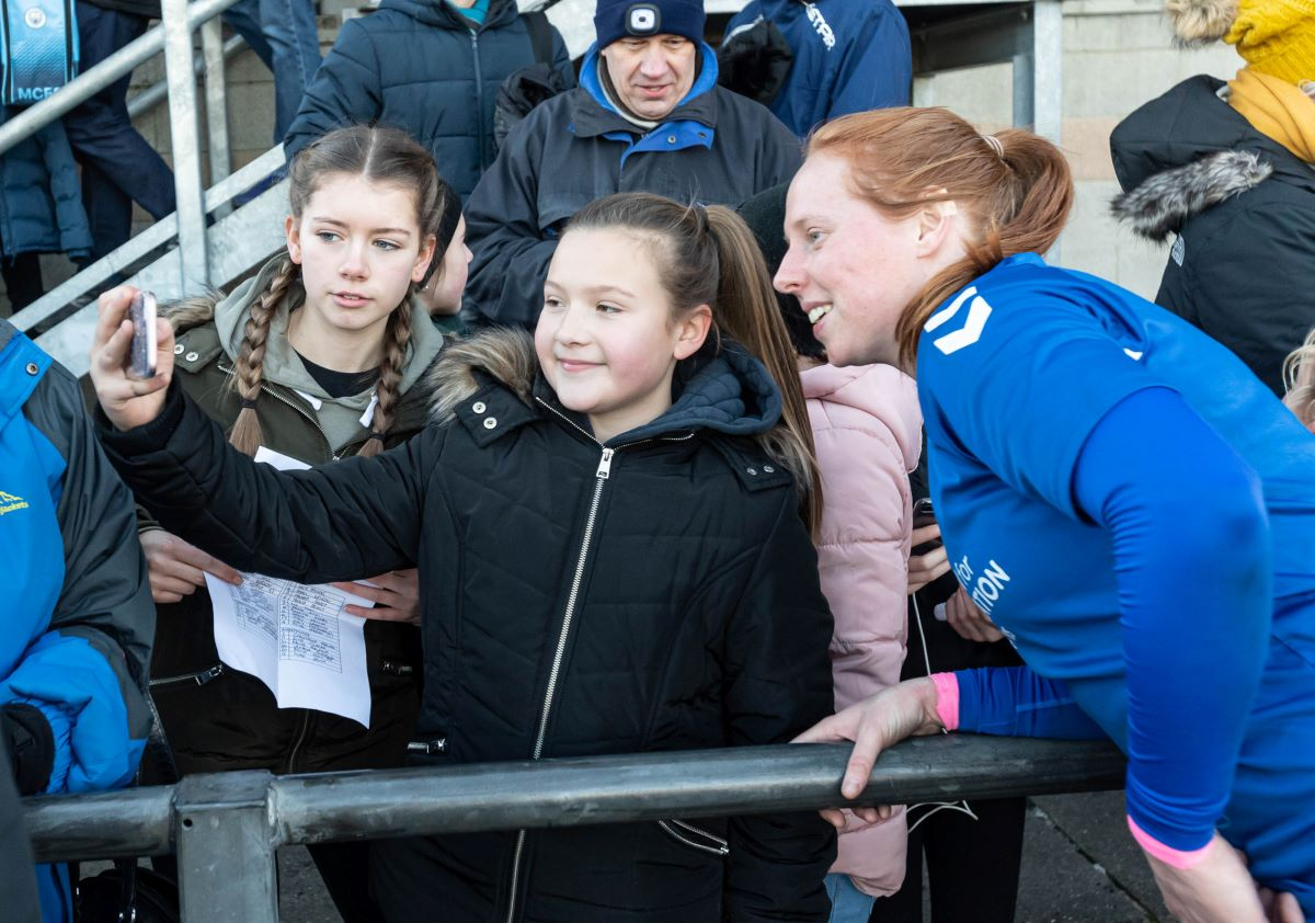 Durham's Kathryn Hill with fans