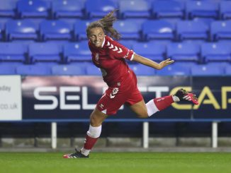 Abi Harrison celebrates her winning goal for Bristol City