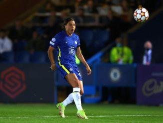 Sam Kerr scores Chelsea's opener against WOlfsburg
