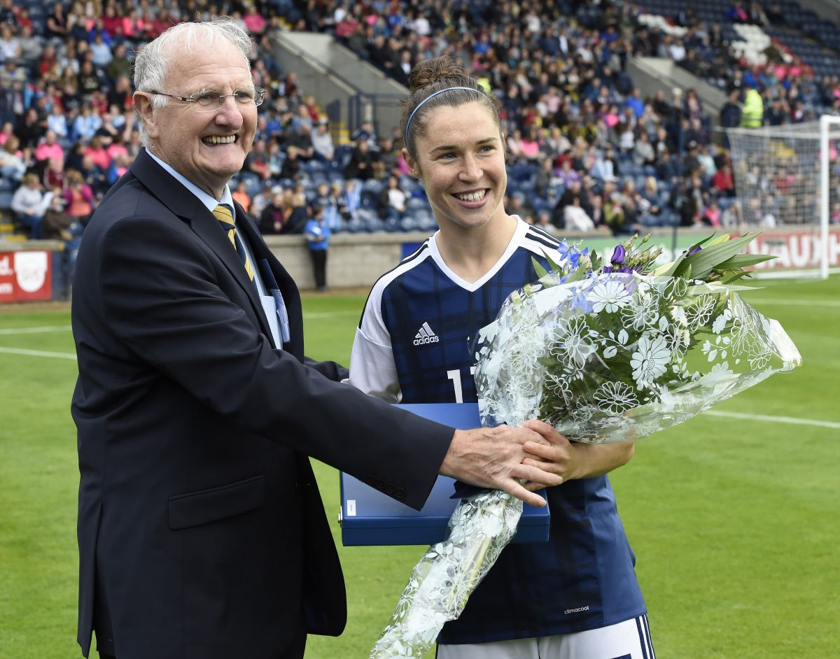 Jane Ross is honoured on reaching 100 caps.